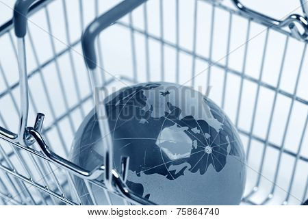 glass globe in the shopping basket