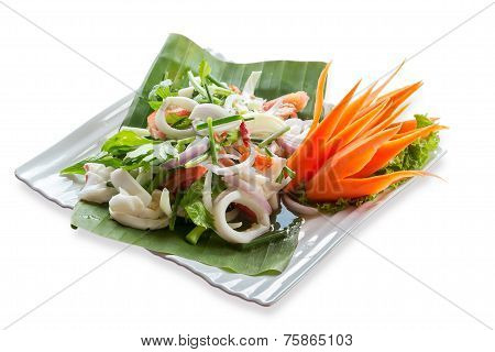 Spicy Seafood.image Isolated On White Background. With Clipping Path