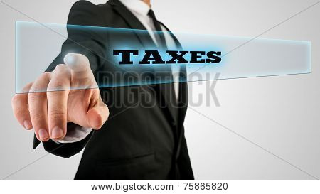 Hand Touching Taxes Box On Touch Screen