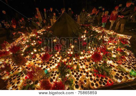 Candels Lit During All Saints Night