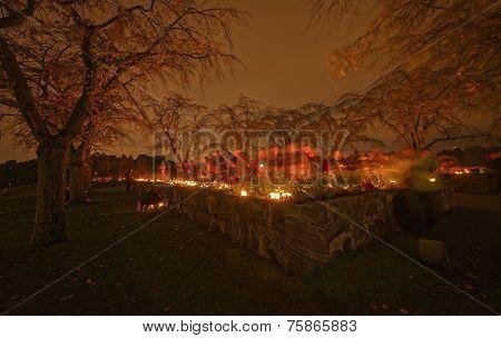 Candels Lit During All Saints Night Or Halloween At Skogskyrkogarden