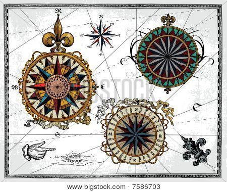 Antique compass roses
