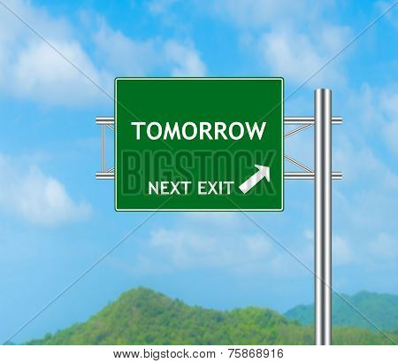 Road Sign Concept To Tomorrow