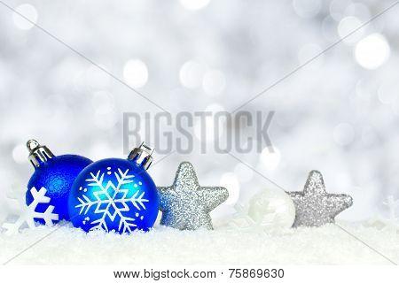 Christmas ornament border with twinkling lights