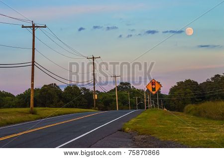 Full Moon And Highway