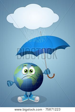 Funny Earth With Umbrella For Rainy Day