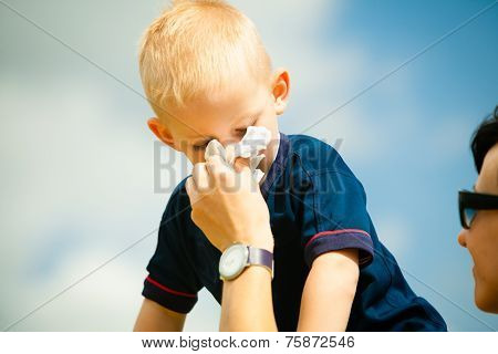 Child Blowing Nose. Boy With Tissue. Catarrh Or Allergy