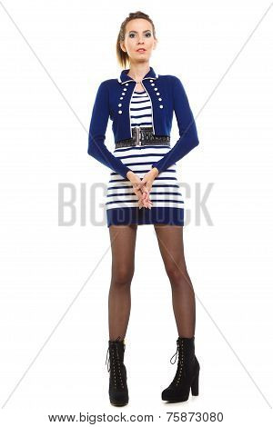 Fashion Photo Of Young Woman In Full Length. Girl Posing.