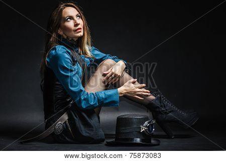 Beautiful Steampunk Woman On Black.