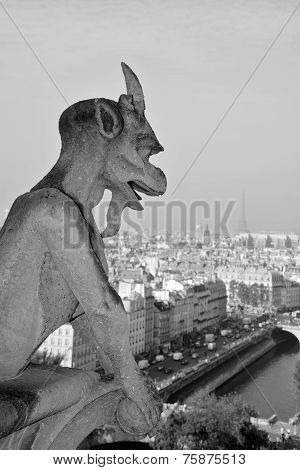 Famous chimere of Notre-Dame