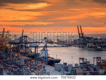 Landscape From Bird View Of Cargo Ships Entering