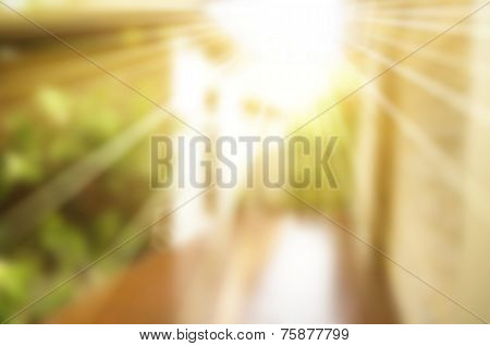 Abstract blurry warm background with two converging wall