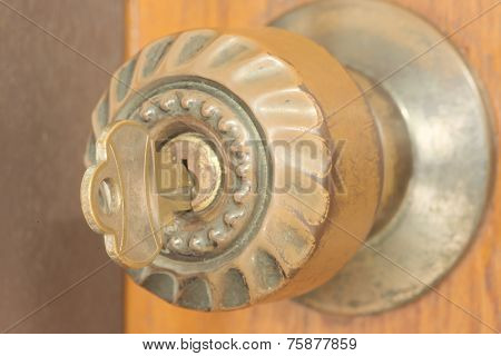Key inside door knob