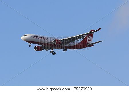Air Berlin Airbus A330 in New York sky before landing at JFK Airport