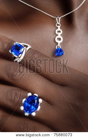 Tanzanite and Diamonds Designer Jewellery on the Skin of a Black Lady