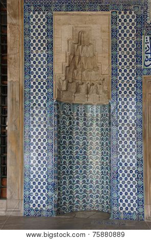Mosaics Covering The Outside Walls  Of The Rustem Pasha Mosque,  In Istanbul, Turkey.