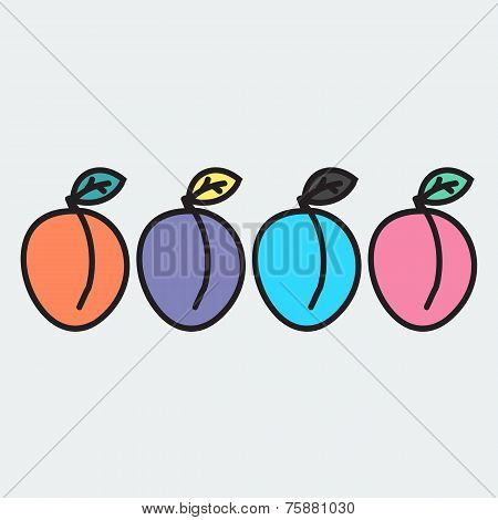 set of hand-drawn apricot - illustration on the theme of the summer