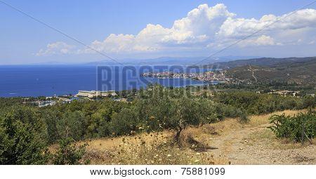Porto Carras Meliton and Neos Marmaras on the coast.