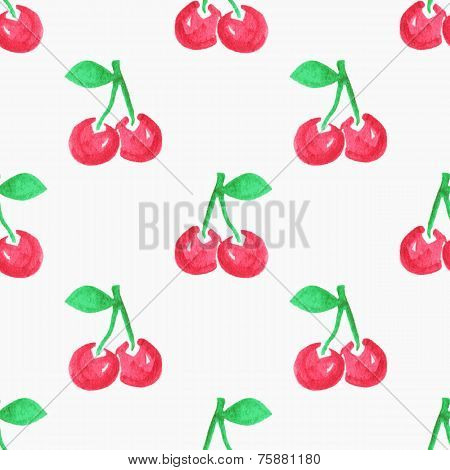 Seamless watercolor pattern with cherries, aquarelle cherry.