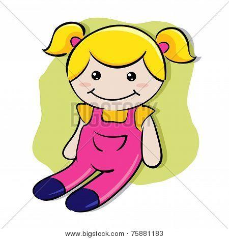 Little girl's play doll