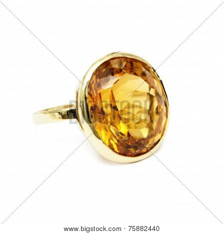 Ring - Yellow Precious/Semi-precious Gemstone, Set in Gold, Isolated on White Background
