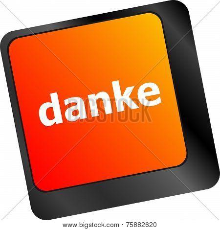 A Thank You (danke) Message On Enter Key Of Keyboard