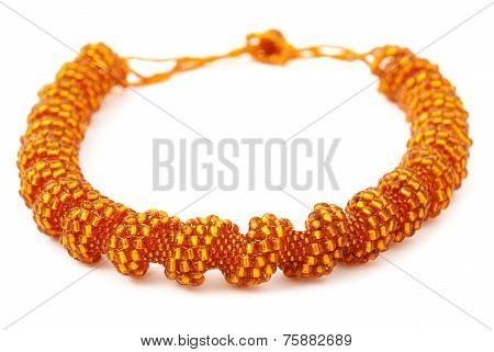 Orange Spiralling Beaded Neckwear, Traditionally African, Isolated on White Background
