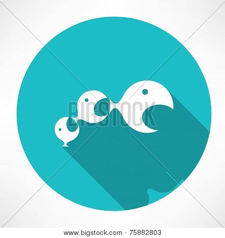 small fish eats the big fish icon