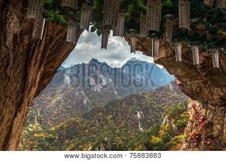Lungta, ritual wish flags at Buddhist monk cave for meditation at seorak mountains at the Seorak-san National Park, Soraksan, South korea