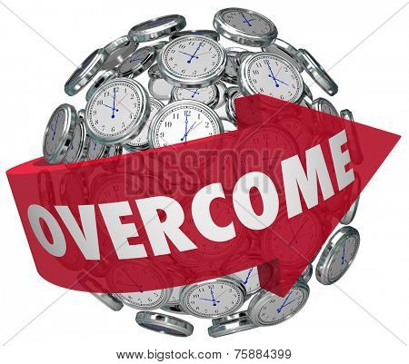 Overcome word on a red arrow around a ball or sphere of clocks to illustrate problems going away or conquered as time marches on