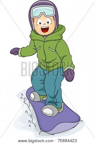 Illustration Featuring a Boy Snowboarding Down a Slope