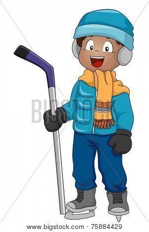 Illustration Featuring a Boy Wearing Ice Hockey Gear