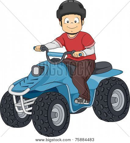 Illustration Featuring a Boy Riding an All Terrain Vehicle