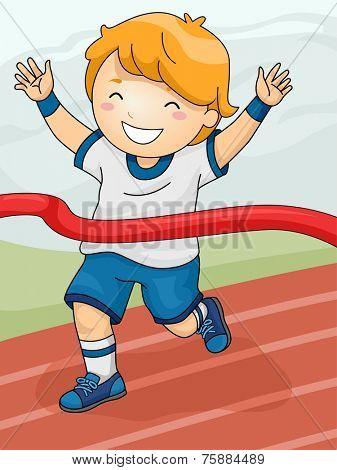Illustration Featuring a Boy Winning a Race
