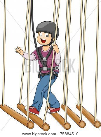 Illustration Featuring a Boy Crossing a Bamboo Bridge Suspended on Ropes