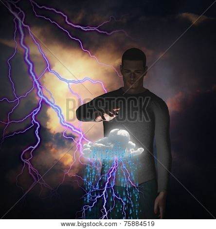 Man with power over raincloud and lightning