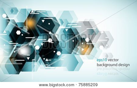 eps10 vector transparent hexagon geometric shapes technology background