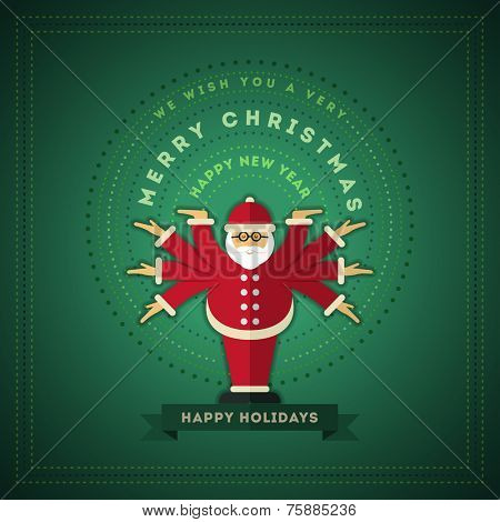 Santa Claus with eight arms Christmas Card. Vector illustration. Elements are layered separately in vector file.