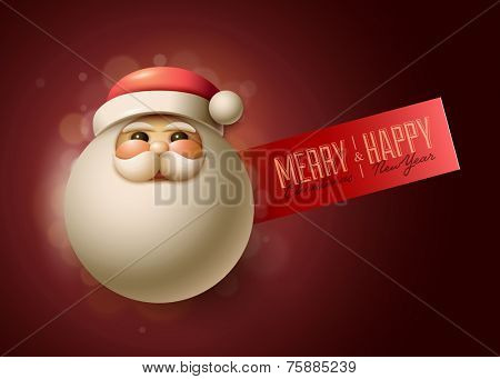 Christmas advert design template with Santa Claus portrait illustration. Detailed vector illustration and high quality typographic design.