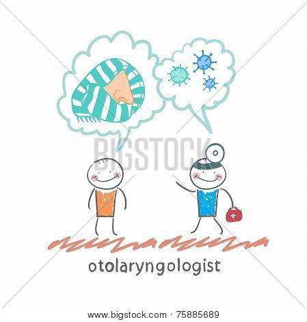 otolaryngologist says about bacteria and nose with a patient