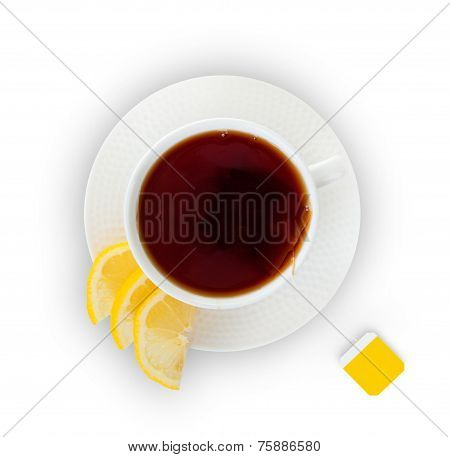 Glass Cup Tea on White Background.