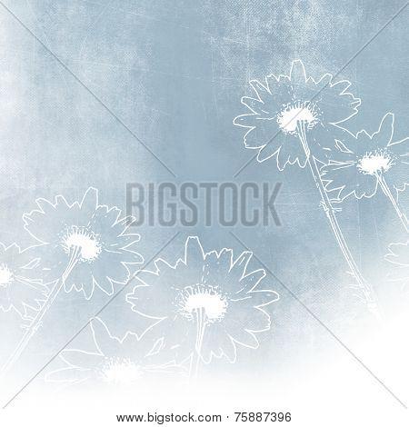 Soft blue flower background in vintage style