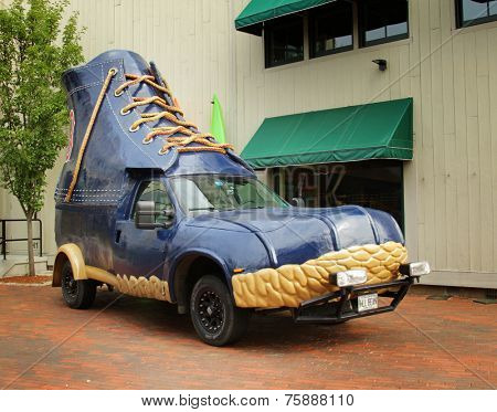FREEPORT, MAINE, august 31 2014:  L.L.Bean bootmobile.  Promotional truck use by L.L.Bean, leading merchant of quality outdoor gear and has been open 24 hours a day since 1951.