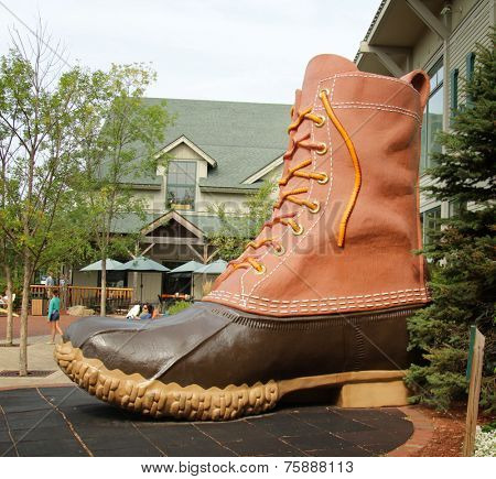 FREEPORT, MAINE, august 31 2014:  L.L.Bean.  boot at the entrance of this, leading merchant of quality outdoor gear and has been open 24 hours a day since 1951.