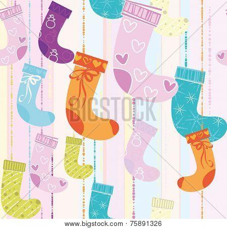 Christmas socks seamless vector texture.