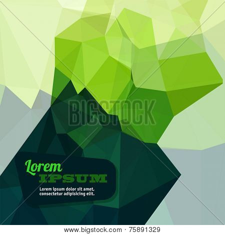 Abstract triangle green geometrical background, Vector.