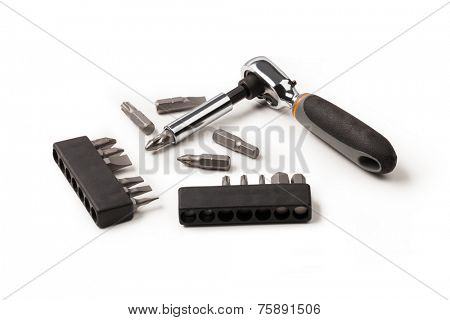 screwdriver bits isolated on a white background