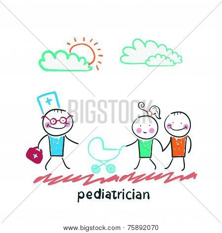 pediatrician came to the sick child in the stroller parents