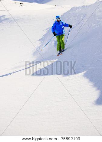 Skiing, Skier, Freeski - man skiing downhill