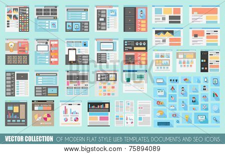 Mega Collection of Flat Style Website templates, Sheets, Icons, Social Network layouts, generic blogs, video portals and so on.